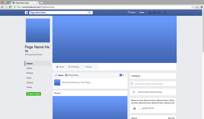 Steps in creating facebook page